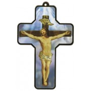 "Crucifix Wood Laminated Cross cm.13x9 - 5""x 31/2"""