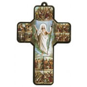 "Stations of the Cross Wood Laminated Cross cm.13x9 - 5""x 31/2"""
