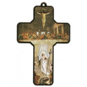 "Last Supper Wood Laminated Cross cm.13x9 - 5""x 31/2"""