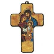"Holy Family Wood Laminated Cross cm.13x9 - 5""x 31/2"""