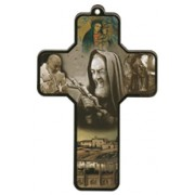 "Padre Pio Wood Laminated Cross cm.13x9 - 5""x 31/2"""