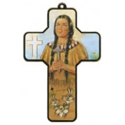 "Kateri Tekakwitha Wood Laminated Cross cm.13x9 - 5""x 31/2"""