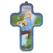 "Guardian Angel Wood Laminated Cross cm.13x9 - 5""x 31/2"""