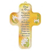 "Angel of God Prayer French Wood Laminated Cross cm.13x9 - 5""x 31/2"""