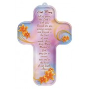 "Hail Mary Prayer English Wood Laminated Cross cm.13x9 - 5""x 31/2"""