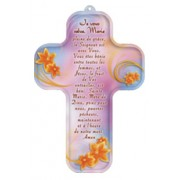 "Hail Mary Prayer French Wood Laminated Cross cm.13x9 - 5""x 31/2"""