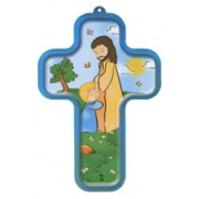 "Jesus with Child Wood Laminated Cross cm.13x9 - 5""x 31/2"""