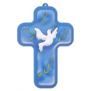 "Holy Spirit Blue Wood Laminated Cross cm.13x9 - 5""x 31/2"""
