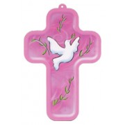 "Holy Spirit Pink Wood Laminated Cross cm.13x9 - 5""x 31/2"""