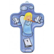 """Girl Guardian Angel and Flute Wood Laminated Cross cm.13x9 - 5""""x 31/2"""""""