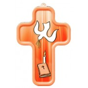 "Holy Spirit Red Wood Laminated Cross cm.13x9 - 5""x 31/2"""