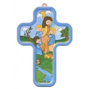 "Jesus and Children Wood Laminated Cross cm.13x9 - 5""x 31/2"""