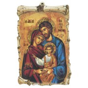 "Icon Holy Family Scroll Plaque cm.10x15 - 4""x6"""