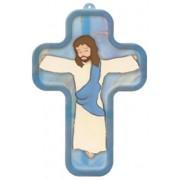 "Blue Cartoon Jesus Crucified Wood Laminated Cross cm.13x9 - 5""x 31/2"""