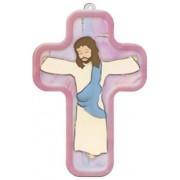 "Pink Cartoon Jesus Crucified Wood Laminated Cross cm.13x9 - 5""x 31/2"""
