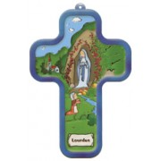"Cartoon Lourdes Wood Laminated Cross cm.13x9 - 5""x 31/2"""