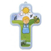 "Baby Boy Wood Laminated Cross cm.13x9 - 5""x 31/2"""