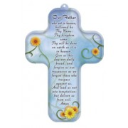 "Our Father Prayer English Wood Laminated Cross cm.13x9 - 5""x 31/2"""