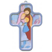 "Ste. Famille/ Holy Family Sign of the Cross French Wood Laminated Cross cm.13x9 - 5""x 31/2"""