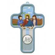 "Last Supper Light Blue Wood Laminated Cross cm.13x9 - 5""x 31/2"""
