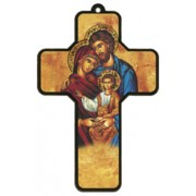 "Icon Holy Family Wood Laminated Cross cm.13x9 - 5""x 31/2"""