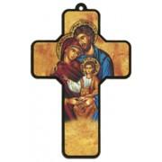 "Icon Holy Family Wood Laminated Cross cm.13x9 - 5""x 31/2"""
