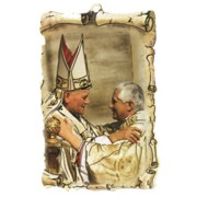 "Pope John Paul II / Pope Benedict Scroll Plaque cm.10x15 - 4""x6"""