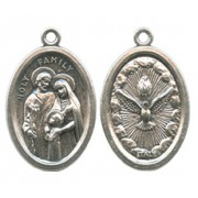 Holy Family/ Holy Spirit Oval Oxidized Medal mm.22 - 7/8""