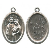Holy Family Oval Oxidized Medal mm.22 - 7/8""