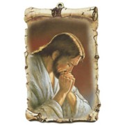 "Jesus Praying Scroll Plaque cm.10x15 - 4""x6"""