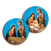 Nativity 3D Bi-Dimensional Round Bookmark cm.7 - 2 3/4""