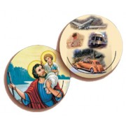 St.Christopher/ Vehicles 3D Bi-Dimensional Round Bookmark cm.7 - 2 3/4""