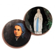 Lourdes and St.Bernadette 3D Bi-Dimensional Round Bookmark cm.7 - 2 3/4
