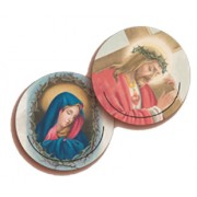 Jesus and Our Lady of Sorrow 3D Bi-Dimensional Round Bookmark cm.7 - 2 3/4""