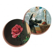 St.Rita/ Rose 3D Bi-Dimensional Round Bookmark cm.7 - 2 3/4""