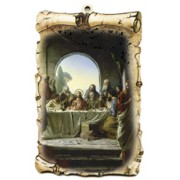 "The Last Supper Scroll Plaque cm.10x15 - 4""x6"""