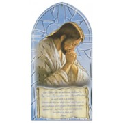 "Jesus Praying/ Our Father Prayer Plaque English cm.10x20 - 4""x8"""