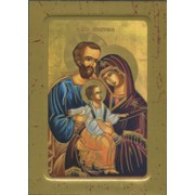 "Holy Family Wood Icon Plaque with Depression cm.10x15 - 4""x6"""