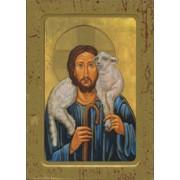 """Good Shepherd Wood Icon Plaque with Depression cm.10x15 - 4""""x6"""""""