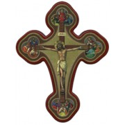 "Crucifixion (4 Evangelists) Solid Cross Red/Gold cm.20x27 x 8""x10 1/2"""