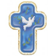 "Holy Spirit Blue Laquered Cross cm.10x14 - 4""x 5 1/2"""