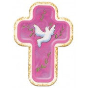 "Holy Spirit Pink Laquered Cross cm.10x14 - 4""x 5 1/2"""