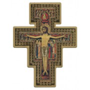 "Saint Damian Cross Laquered Gold cm.14x19 - 5 1/2""x 7 1/2"""
