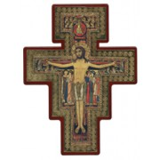 "Saint Damian Cross Laquered Red cm.30x40 - 12""x16"""