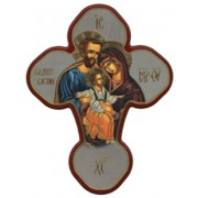 "Holy Family Solid Cross Red/Gold cm.20x27 - 8""x10 1/2"""
