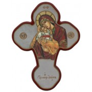 "Mother and Child Solid Cross Red/Gold cm.20x27 - 8""x10 1/2"""