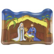"Animated Nativity Plaque and Stand cm.7.5x11 - 3""x4 1/2"""