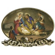 "Nativity Oval Plaque and Stand cm.9x14 - 3 1/2""x5 1/2"""