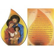"Icon Holy Family Tear Drop Shaped Plaque and Stand English cm.9x13 - 3 3/4""x5"""