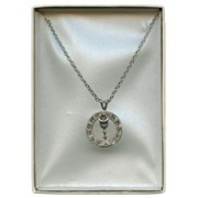 Communion Pendent Chalice with Zircons and Chain SIlver Plated